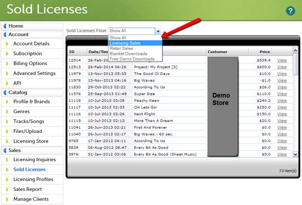 Sold Licenses Filter